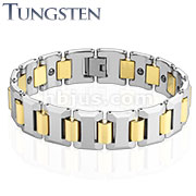 Heavy Width H with Blue IP Links Tungsten Carbide Bracelet