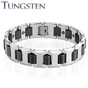 Heavy Width H with Black IP Links Tungsten Carbide Bracelet
