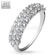 Triple Lined CZ Half Circle .925 Sterling Silver with Authentic Rodium Finish Rings
