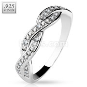 CZ Paved Half Circle Infinite .925 Sterling Silver with Authentic Rhodium Finish Rings