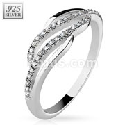 Micro CZ Paved Lines Center Wave .925 Sterling Silver with Authentic Rodium Finish Rings