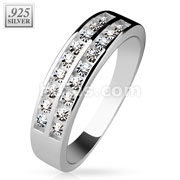 Double Channel Set CZ Center .925 Sterling Silver with Authentic Rodium Finish Rings
