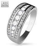 Micro CZ Paved with Larger Lined CZ Center .925 Sterling Silver with Authentic Rodium Finish Rings