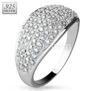 Micro CZ Paved Dome .925 Sterling Silver with Authentic Rodium Finish Rings