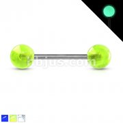 Glow In The Dark Balls Grade 23 Solid Titanium Barbell