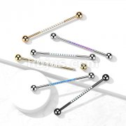 Implant Grade Titanium Industrial Barbell with CNC Set Lined Opal on Bar
