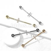 Implant Grade Titanium Industrial Barbell with Cross CNC Set Lined CZ
