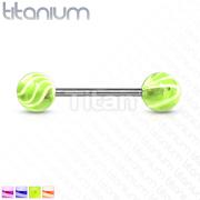 Wave Acrylic Ball Grade 23 Solid Titanium Barbell