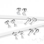 Pair of CZ Press Cut Martini SetImplant Grade Titanium Ear Stud Rings