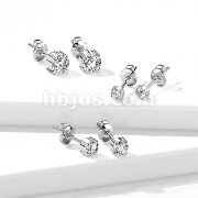 Pair of Implant Grade Titanium with Prong Set CZ Ear Stud Rings