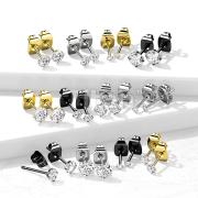 Pair of Implant Grade Titanium Round Prong Set CZ Stud Earrings