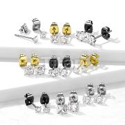 Pair of Implant Grade Titanium Square Prong Set CZ Stud Earrings