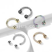 Implant Grade Titanium Circular Barbell/Horseshoe with Pave CZ on Each side