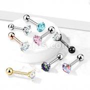 Implant Grade Titanium Cartilage, Tragu Barbell with Prong Set CZ