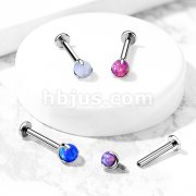 Claw Set Opal Ball Top Implant Grade Titanium Internally Threaded Labret, Flat Back Studs for Chin,Monroe, Ear Cartilage, and More