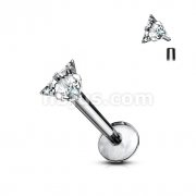 Prong Set Triangle Clear Gem Top Grade 23 Solid Titanium Internally Threaded Monroe Labret