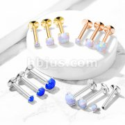 G23 Implant Grade Titanium Internally Threaded Top Labret Studs with Prong Set Opal for Ear Cartilage, Lip, Chin, Monroe and More