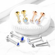 G23 Implant Grade Titanium Internal Top Labret Studs with Bezel Set Opal for Ear Cartilage, Lip, Chin, Monroe and More