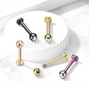 PVD Over Implant Grade Titanium Gem Ball Labret Studs for Chin, Monroe, Ear Cartilage, and More