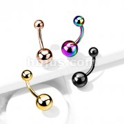 PVD Over Implant Grade Titanium Belly Rings with Plain Balls