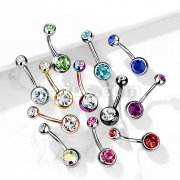 Implant Grade Titanium Double Bezel Set Jeweled Belly Button Navel Rings