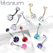 Implant Grade Titanium Internally Threaded Top Prong Set Double Round CZ  Belly Button Navel Rings