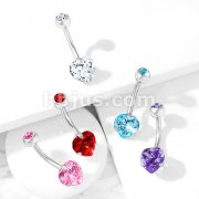 Prong Set Heart CZ Double Jeweled Implant Grade Titanium Belly Button Navel Rings