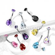 Implant Grade Titanium Internally Threaded Top Prong Set Pear CZ Belly Button Navel Rings