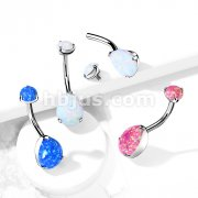 Implant Grade Titanium Internally Threaded Top Prong Set Pear Opa Belly Button Navel Rings