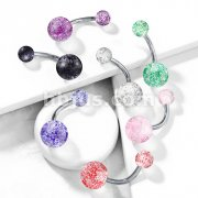 Ultra Glitter Acrylic Ball Grade 23 Solid Titanium Navel Ring