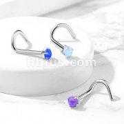 G23 Implant Grade Titanium Prong Set Opal Top Nose Screw Rings