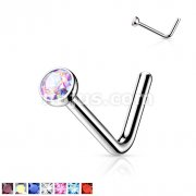 Implant Grade Titanium Press Fit Jeweled 2mm Micro Ball top L bend Nose Stud Rings