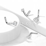 L Bend Nose Screw with Prong Set Gem ImplantGrade Solid Titanium