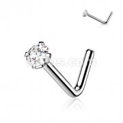 L Bend Nose Screw with Prong Set Gem Grade 23 Solid Titanium