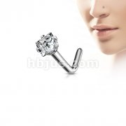 G23 Solid Titanium L Bend Nose Stud Rings with Prong Set Square CZ