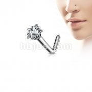 G23 Solid Titanium L Bend Nose Stud Rings with Prong Set Star CZ