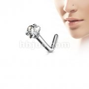 G23 Solid Titanium L Bend Nose Stud Rings with Prong Set Heart CZ