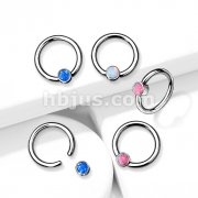 Implant Grade Titanium Captive Bead Rings with Bezel Set Opal