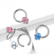 Implant Grade Titanium Captive Bead Rings with Bezel Set Opal Pet Paw