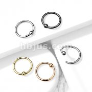 Implant Grade Titanium Fixed Ball Hoop Rings for Cartilage and Nose