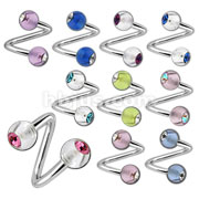 Twist with gem set Acrylic Balls 316L Surgical Stainless Steel 14 & 16ga