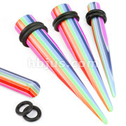 Solid Acrylic Rainbow Print Taper with O-Ring