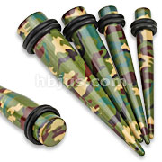 Green/Brown Camouflage Printed UV Acrylic Taper with O-Rings
