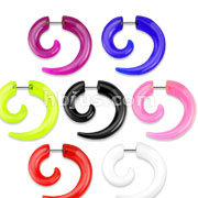 Solid Acrylic Fake Spiral Tapers 70pc Pack (10pcs x 7 colors)