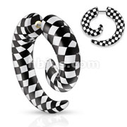 Checkers Printed All Acrylic Spiral Fake Taper