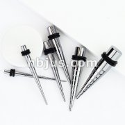 Bump Down 316L Surgical Stainless Steel Taper with 2-Black O-Rings