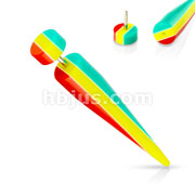 Jamaican Rasta Stripes Fake Acrylic Taper