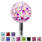 Bling Bling Epoxy Covered Ferido Ball 316L Surgical Steel Labret Tops