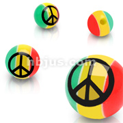 10 Piece Pack of 14 Gauge 6mm Rasta Colored Peace Sign Logo Balls