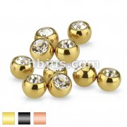 10pc Pack Single Gem Threaded Titanium IP over Surgical Steel Ball Package